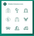 9 ambulance icons vector image vector image