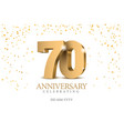 anniversary 70 gold 3d numbers vector image vector image