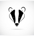 badger head in black vector image vector image