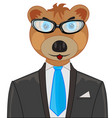 bear in suit vector image vector image