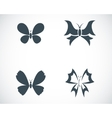 black buttefly icons set vector image vector image