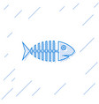 blue fish skeleton line icon isolated on white vector image vector image