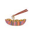 bowl noodles with vegetables and chopsticks vector image