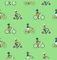 boys riding a bicycle cartoon style vector image