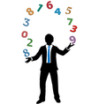 Business man juggling financial number crunching vector image vector image