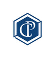 c and p letter initial alphabet logo design vector image vector image