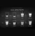 chalk drawn set coffee recipes vector image vector image