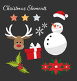 christmas element collection with flat design vector image vector image