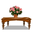 Classic wooden table with bouquet of flowers