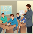 college students in classroom vector image