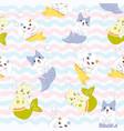 cute animal mermaid cartoon seamless pattern vector image