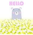 cute hello teddy bear in spring garden vector image