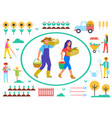 farming man and woman with gathered goods vector image vector image