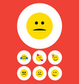 flat icon emoji set of displeased sad party time vector image vector image