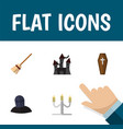 flat icon halloween set of fortress broom tomb vector image vector image