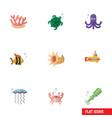 flat icon marine set of tortoise medusa tentacle vector image vector image