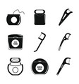 floss dental teeth icons set simple style vector image vector image