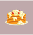 fresh tasty pancakes with cream and berries on a vector image vector image