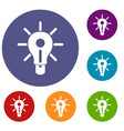 glowing light bulb icons set vector image vector image
