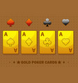 golden four ace poker playing cards icons for vector image