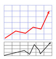 graph with arrow red on white background vector image vector image