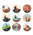guy hipster in different life situations vector image