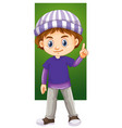 happy boy in winter clothes vector image vector image