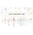 happy womens day greeting banner group of girls vector image