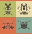 hunting club set of vintage emblems vector image