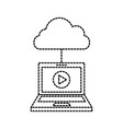 laptop cloud computing player online internet vector image
