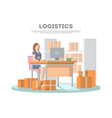 logistics poster with services operator vector image vector image