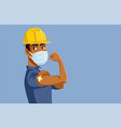 male worker showing vaccinated arm vector image vector image