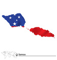 Map of Samoa with flag vector image vector image