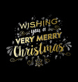 Merry christmas gold doodle lettering design vector image