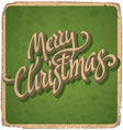 MERRY CHRISTMAS hand lettering vintage card vector image