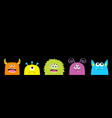 monster face set cute cartoon scary funny vector image