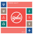 no smoking in bed - prohibition icon elements vector image