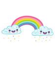 panda with unicorn horn on rainbow vector image vector image