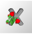 paper cut letter x with poppy flowers vector image vector image