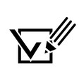 Pencil and a tick box vector image vector image