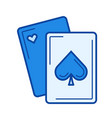 playing cards line icon vector image vector image