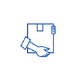 post box with hands line icon concept post box vector image vector image