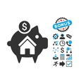 Realty Piggy Bank Flat Icon with Bonus vector image vector image