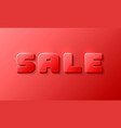 sale text banner on the red background vector image vector image