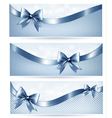 Set of blue holiday banners with gift glossy bow vector image vector image