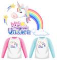 set unicorn shirt vector image vector image