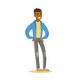 smiling casual young african man in blue jacket vector image