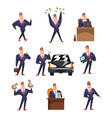 smiling self confident businessman in various vector image vector image