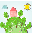 spring hilly landscape with house dashed style vector image vector image