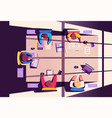 teamwork at smartphone desk coworking concept vector image